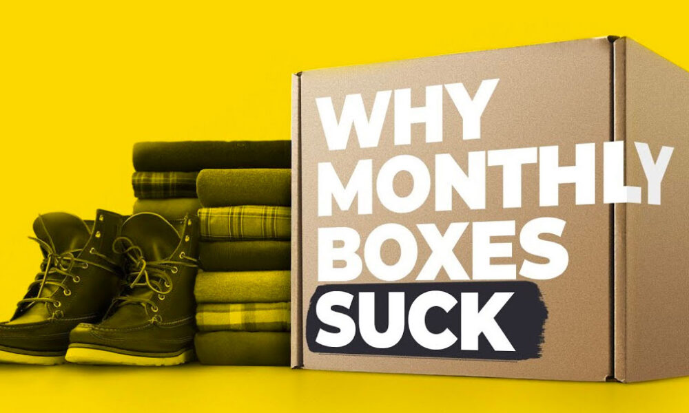 monthly subscription box example on yellow background