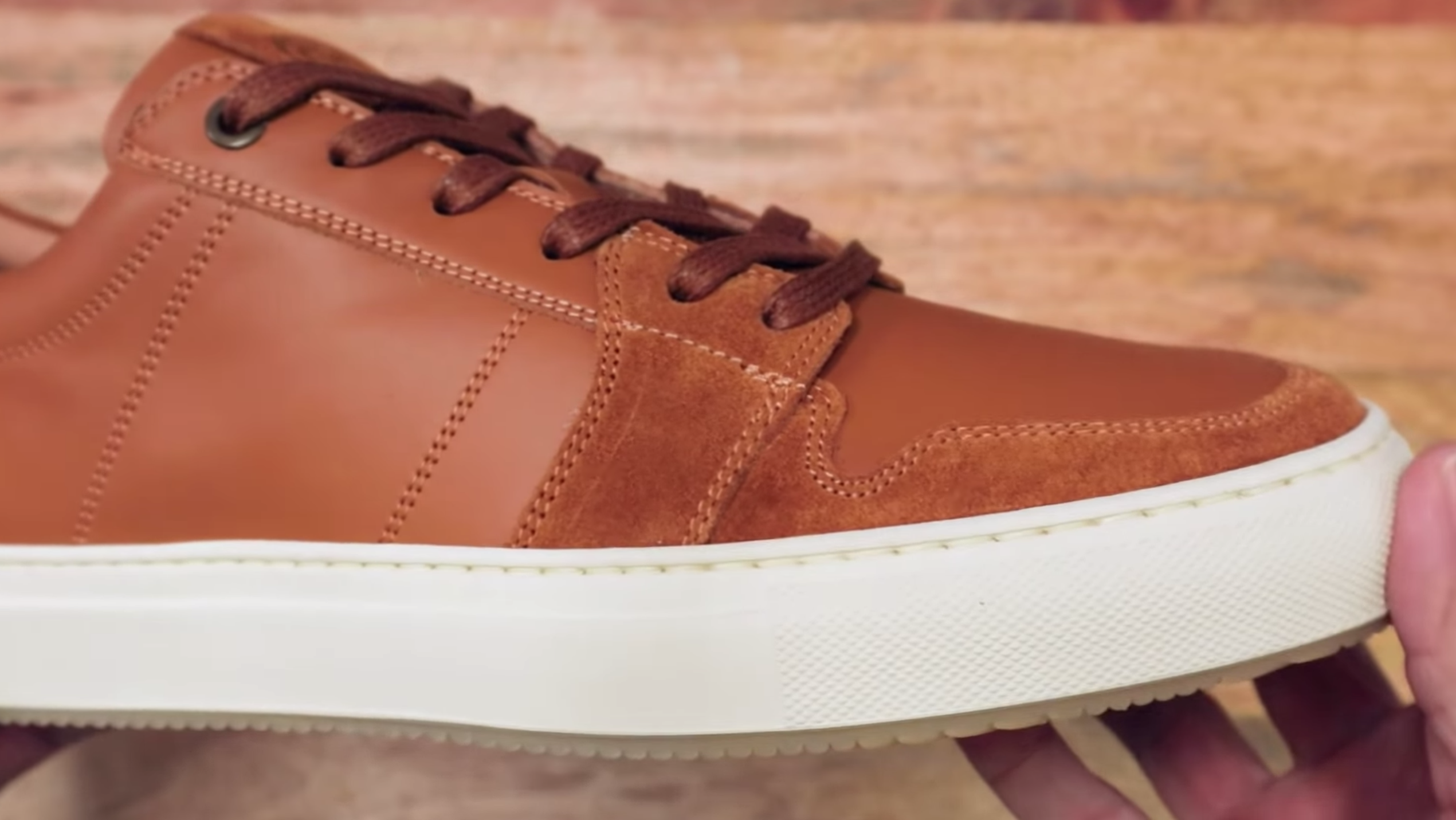 Greats Court leather sneakers with suede detail