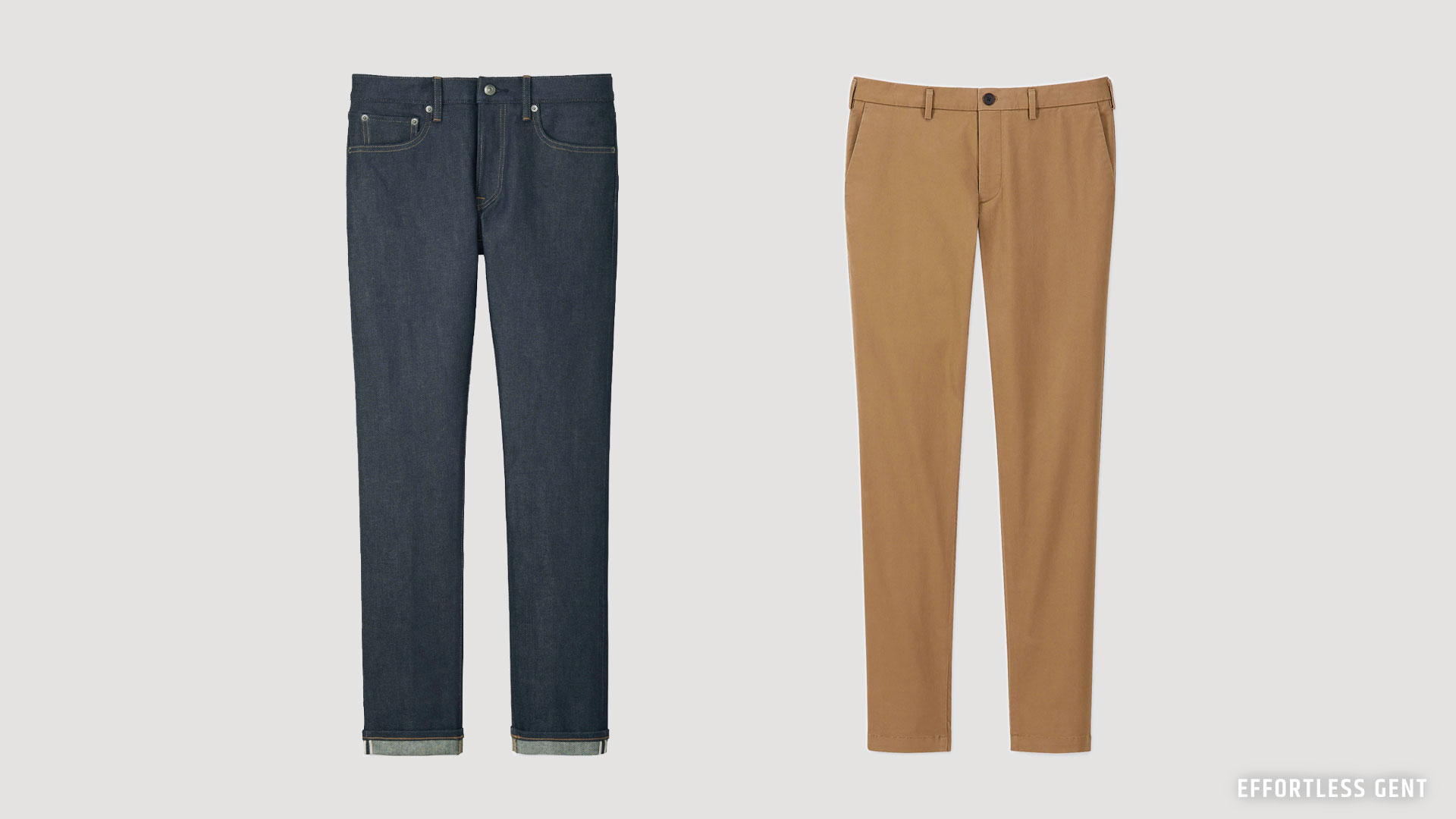 example of denim and chinos that are perfect for a man's minimal lean wardrobe