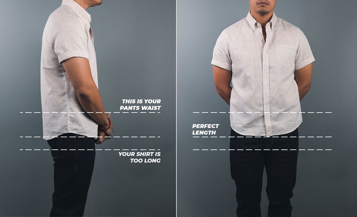 the correct length for a man's short sleeve shirt untucked