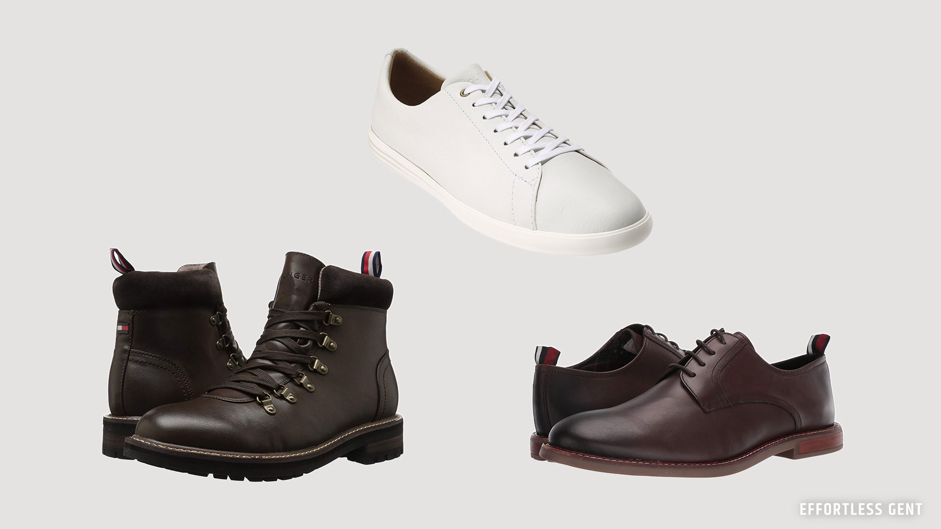 white sneakers, boots, and dress shoes for a man's budget minimal lean wardrobe