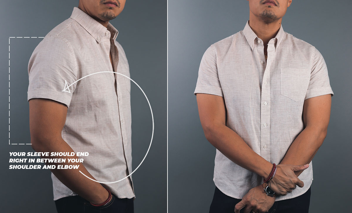 the correct length of a man's short sleeve shirt