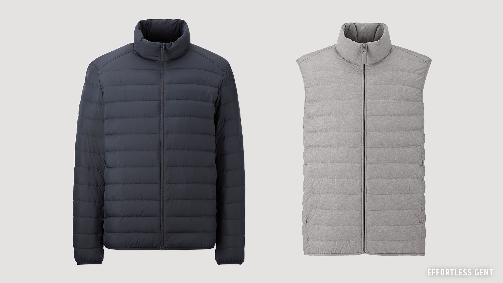 Uniqlo's Ultra Light down jacket and vest are great for the budget lean wardrobe