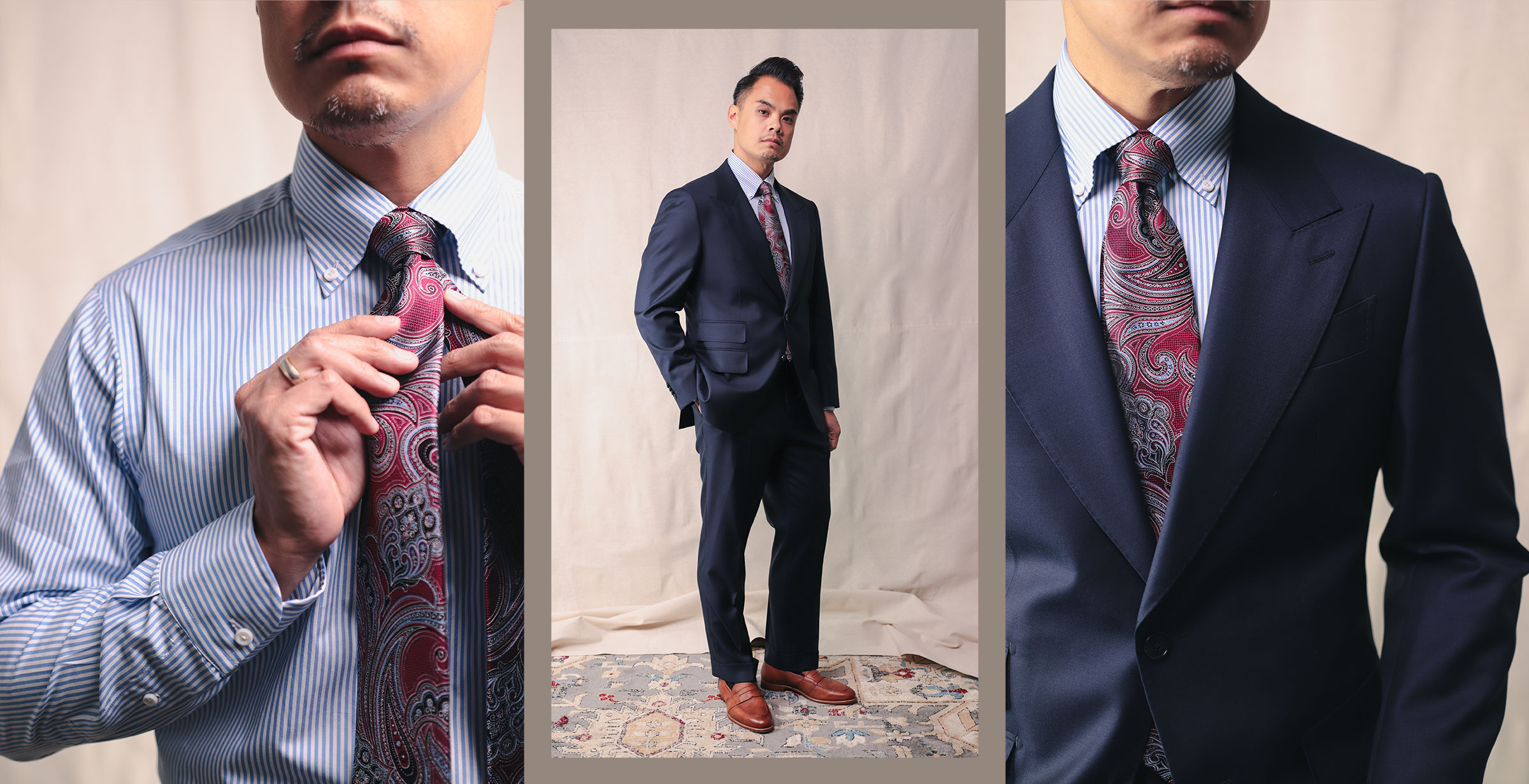 Spier & Mackay Guabello suit shirt and tie details