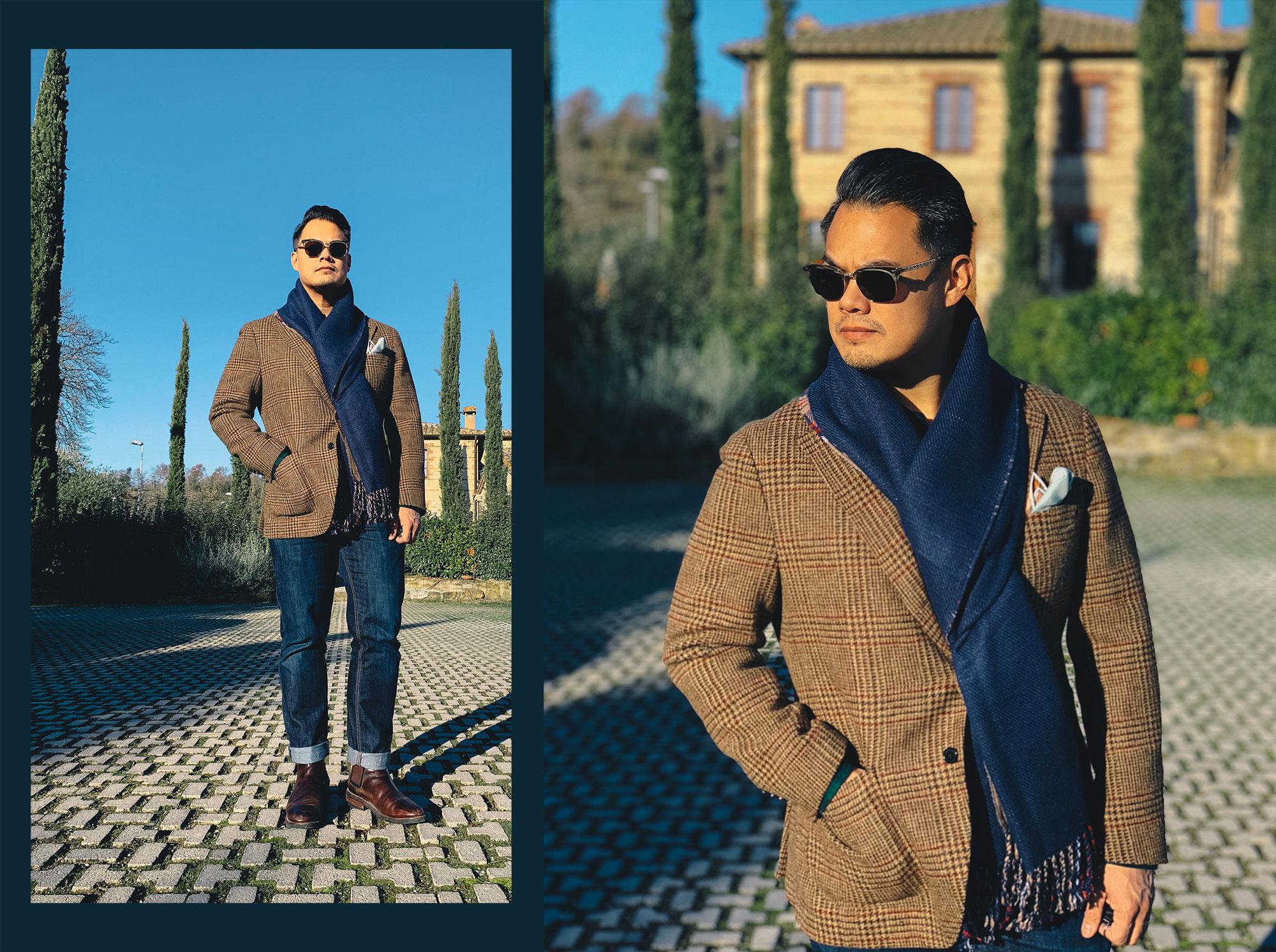 Spier & Mackay brown and red guncheck abraham moon tweed sport coat