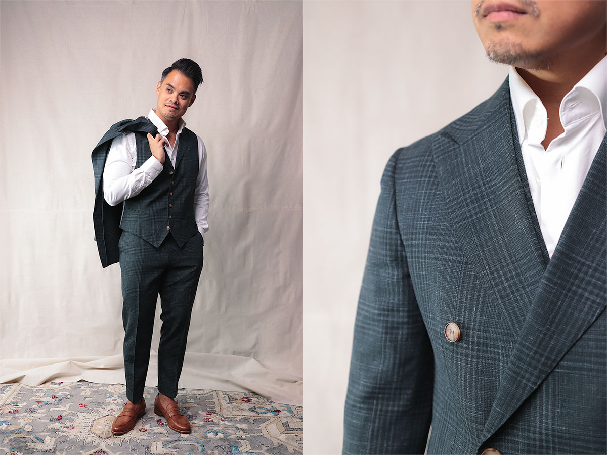 suitsupply custom made - 3 piece suit jacket over shoulder and closeup of suit lapel and shoulder - effortless gent