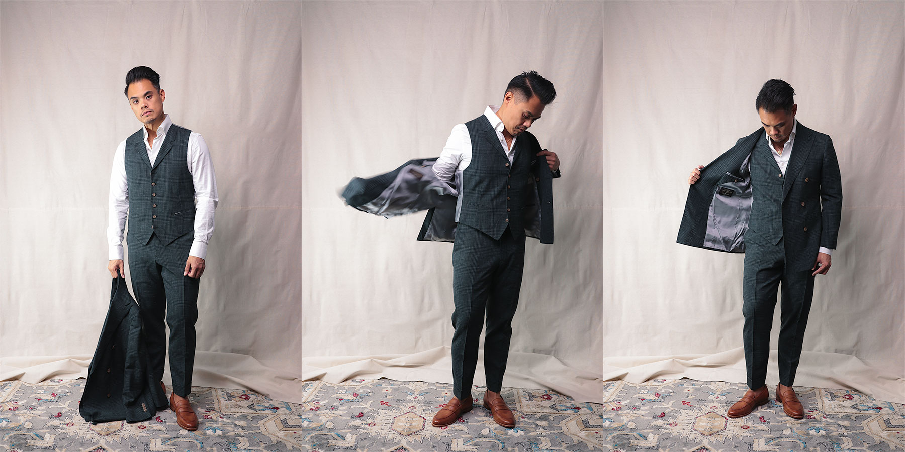 suitsupply custom made - putting on double breasted jacket wearing a vest and trousers - effortless gent