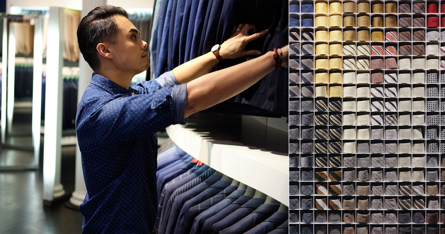 suitsupply store browsing suits and ties - effortless gent