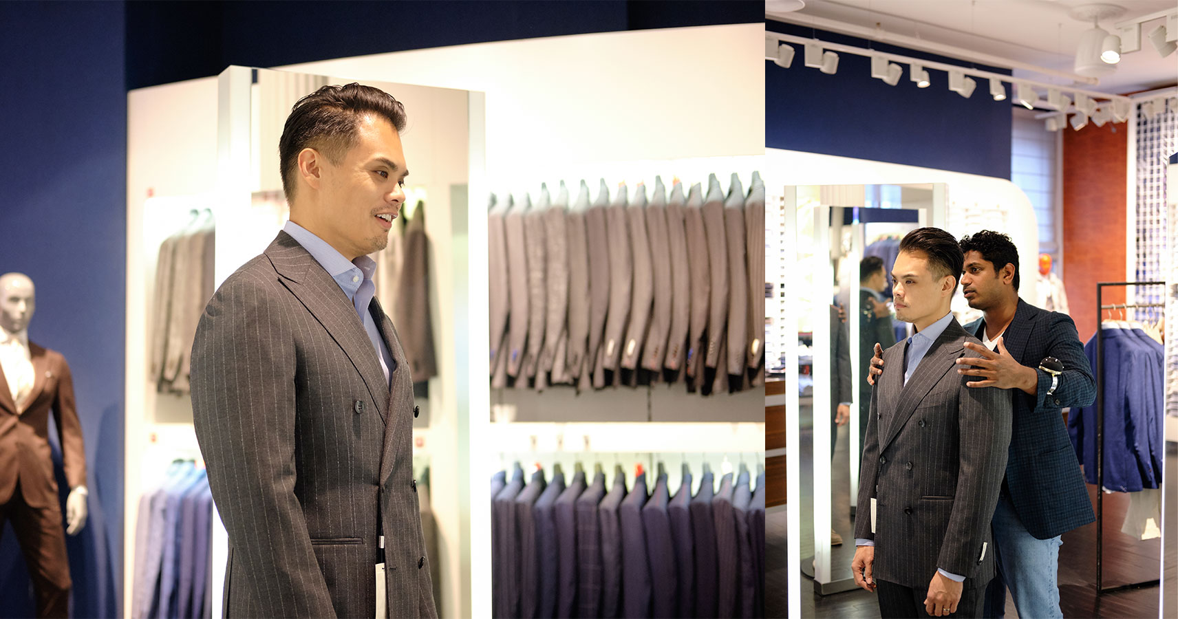 suitsupply custom made trying on a ready to wear jacket and making sure shoulders fit well - effortless gent