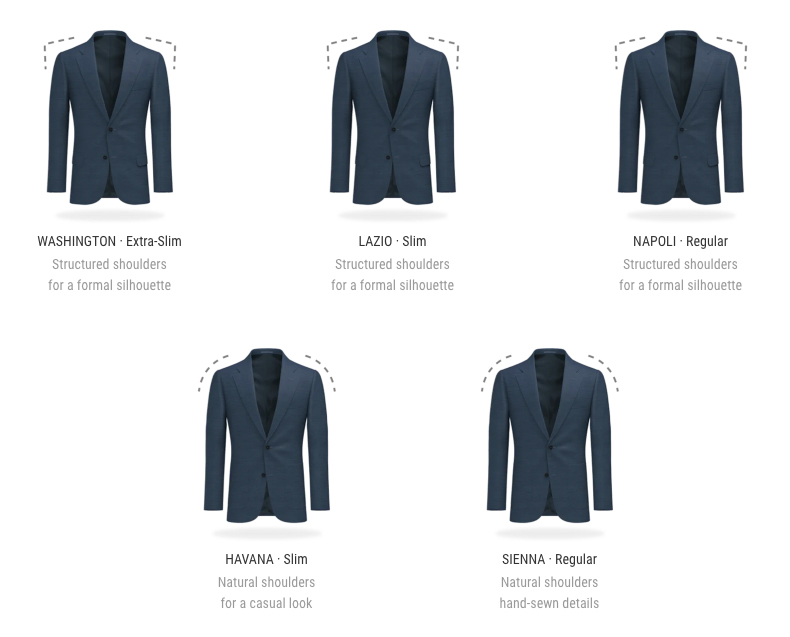 suitsupply illustration of different fits from their custom made program