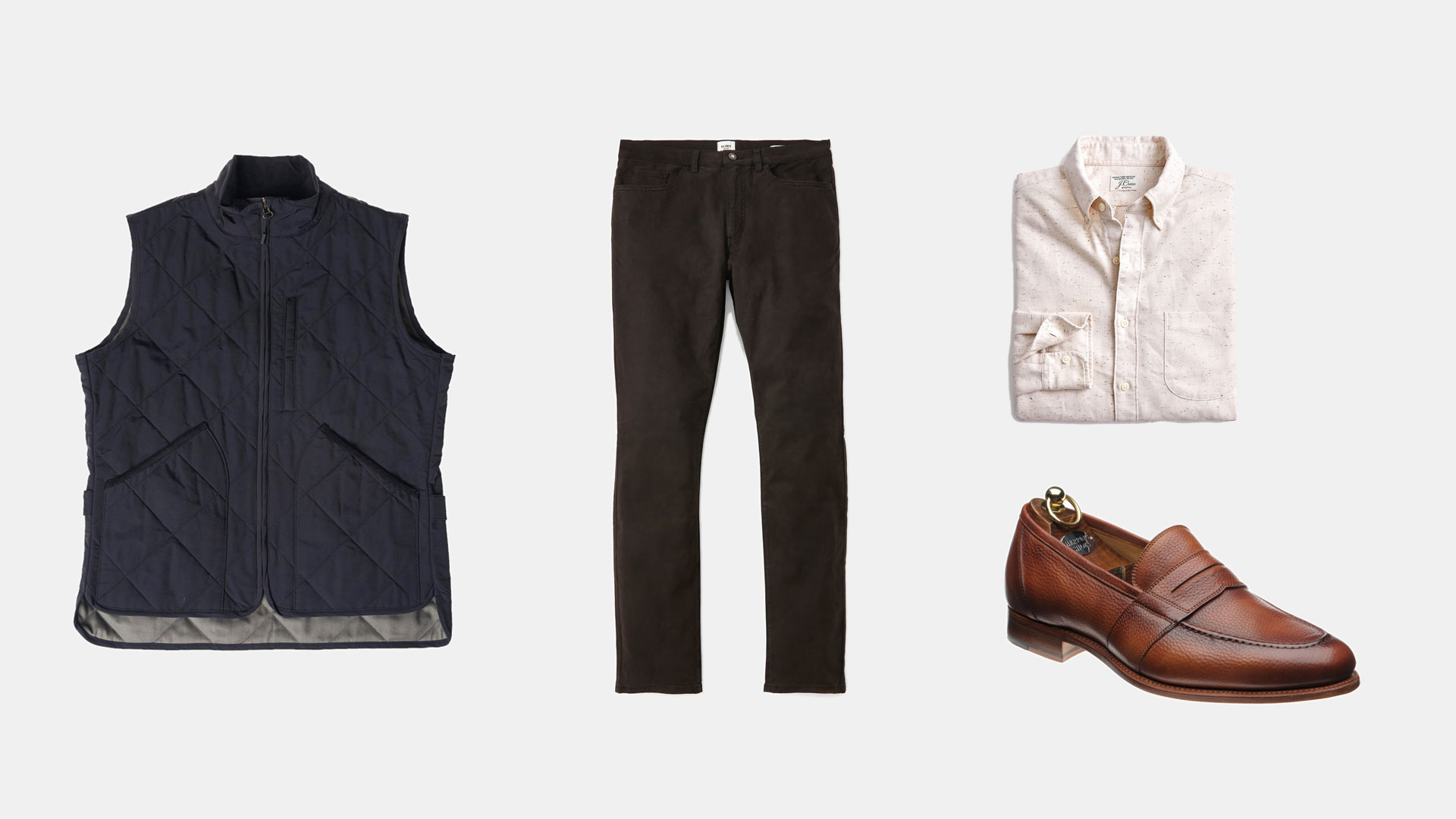 navy quilted vest with charcoal chinos cream flecked button up and tan loafers
