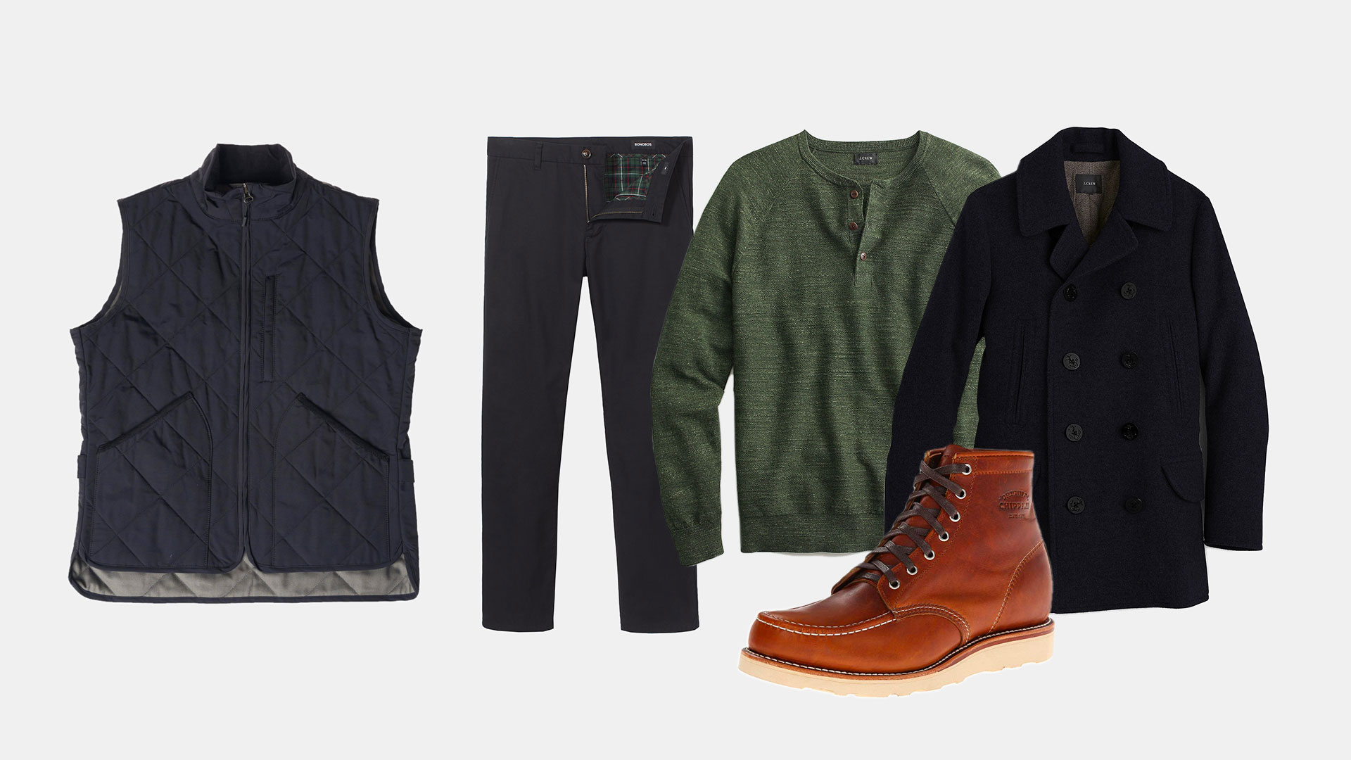 navy quilted vest flannel lined gray chinos green henley sweater navy pea coat and tan moc toe boots