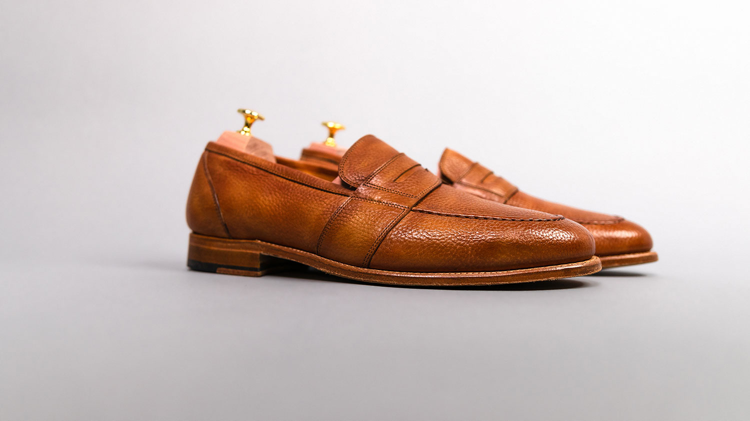 side view of leather loafers