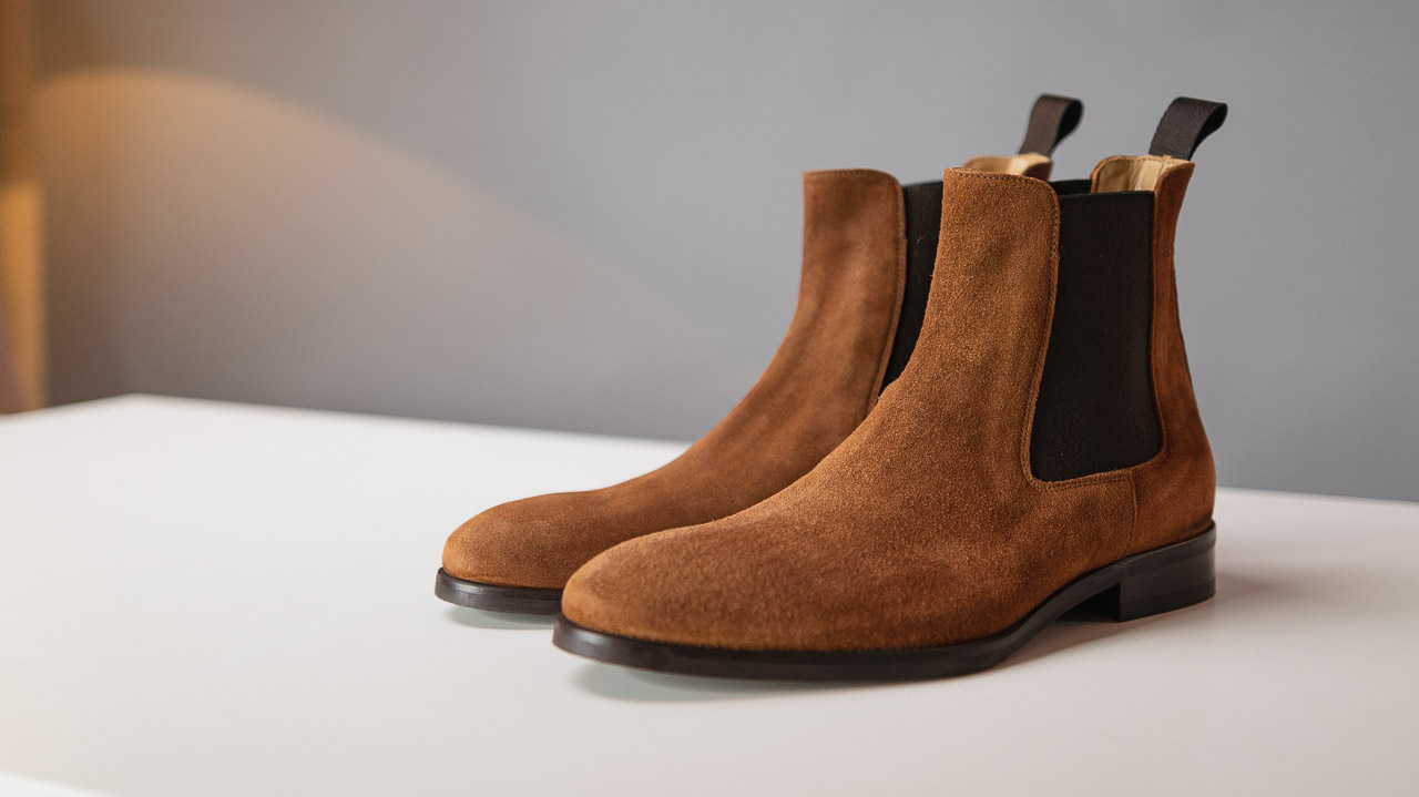 brown chelsea boots in water repellent suede