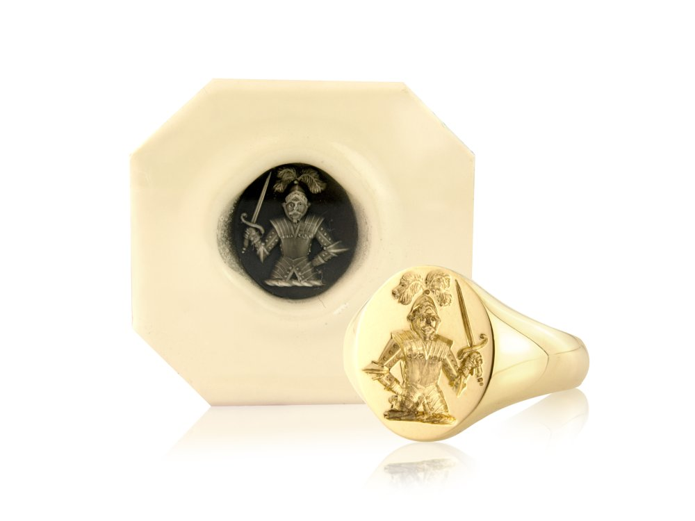gold signet ring with wax impression example from rebus