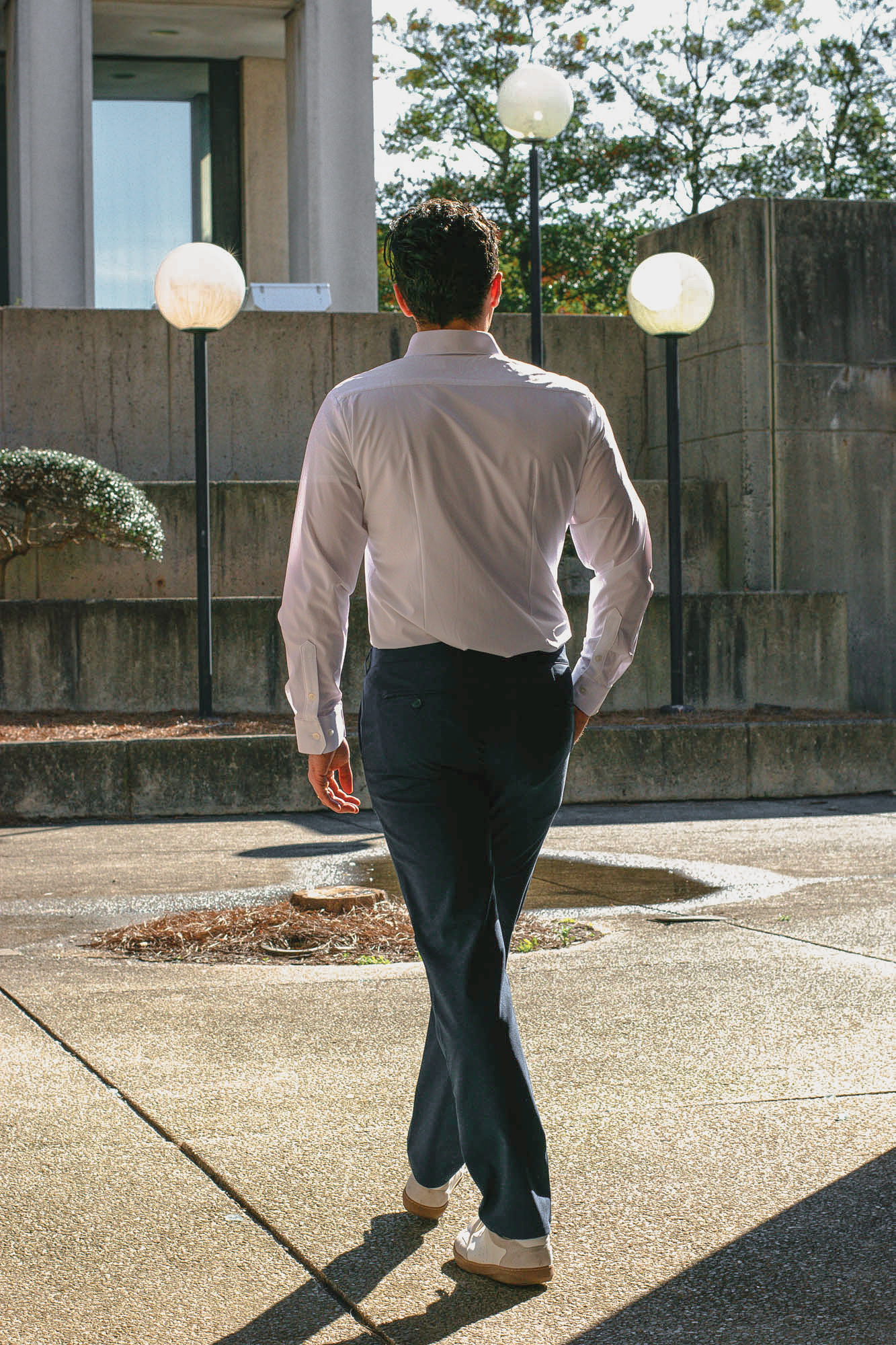 mizzen main white leeward shirt and navy baron chinos