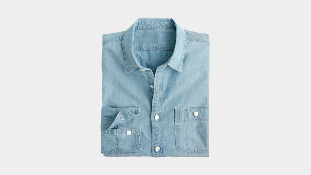 a chambray shirt with stretch - comfortable work from home shirt