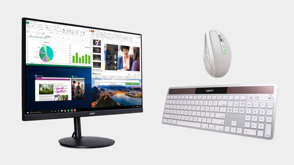 the perfect home office setup with an external monitor wireless keyboard and mouse