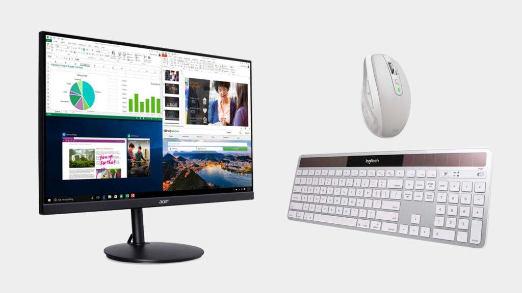 la configuration de bureau à domicile parfaite avec un clavier et une souris sans fil pour moniteur externe