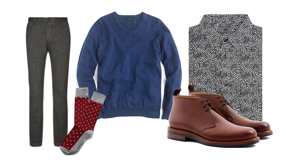 a business casual look with gray trousers v neck sweater and chukkas