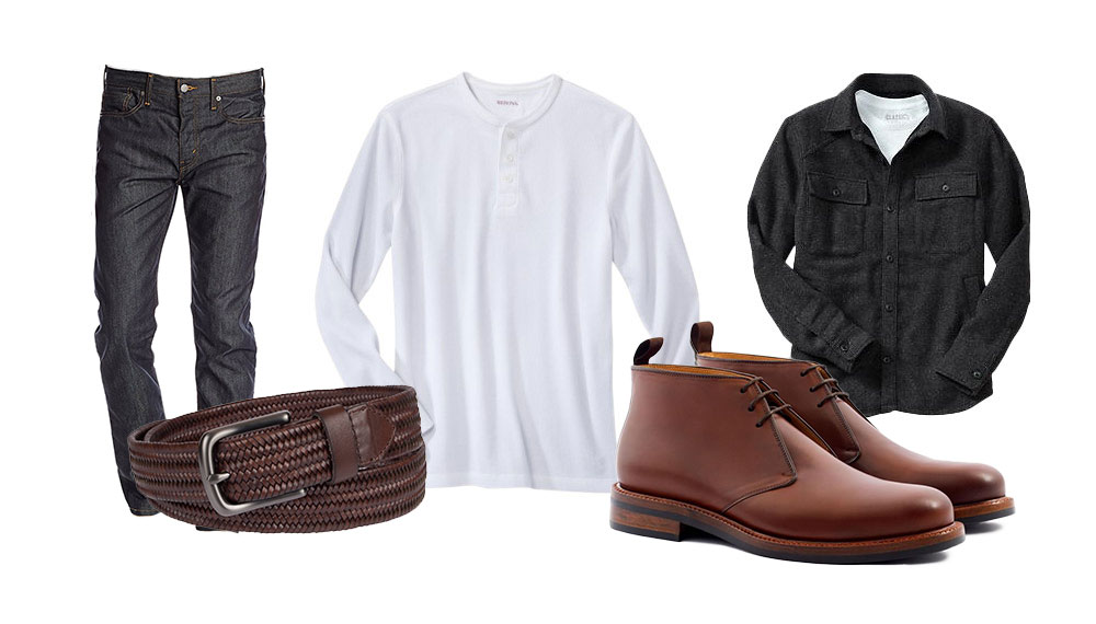 a cold weather outfit with denim white henley grey overshirt and chukka boots
