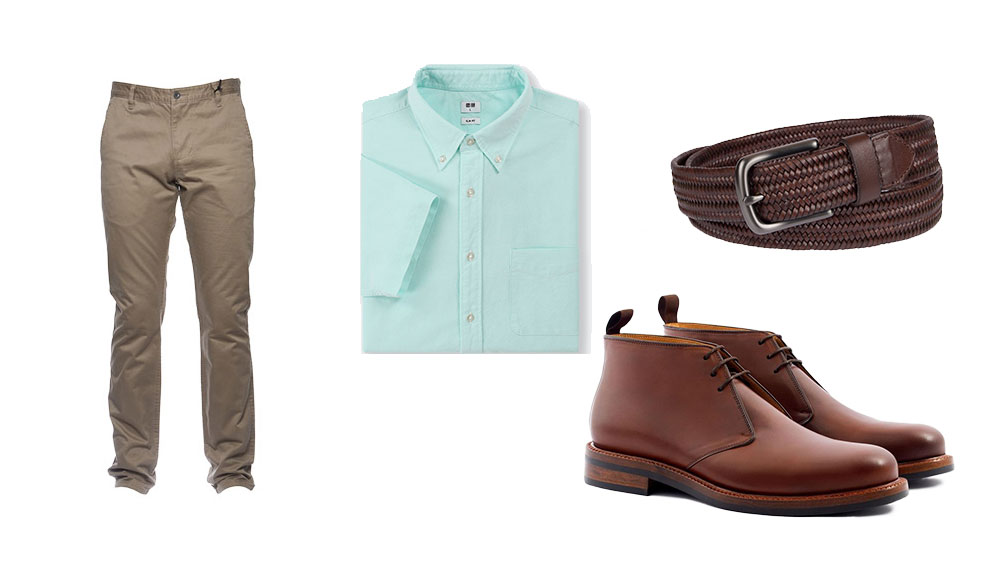 a casual outfit with tan chinos short sleeve shirt and chukkas