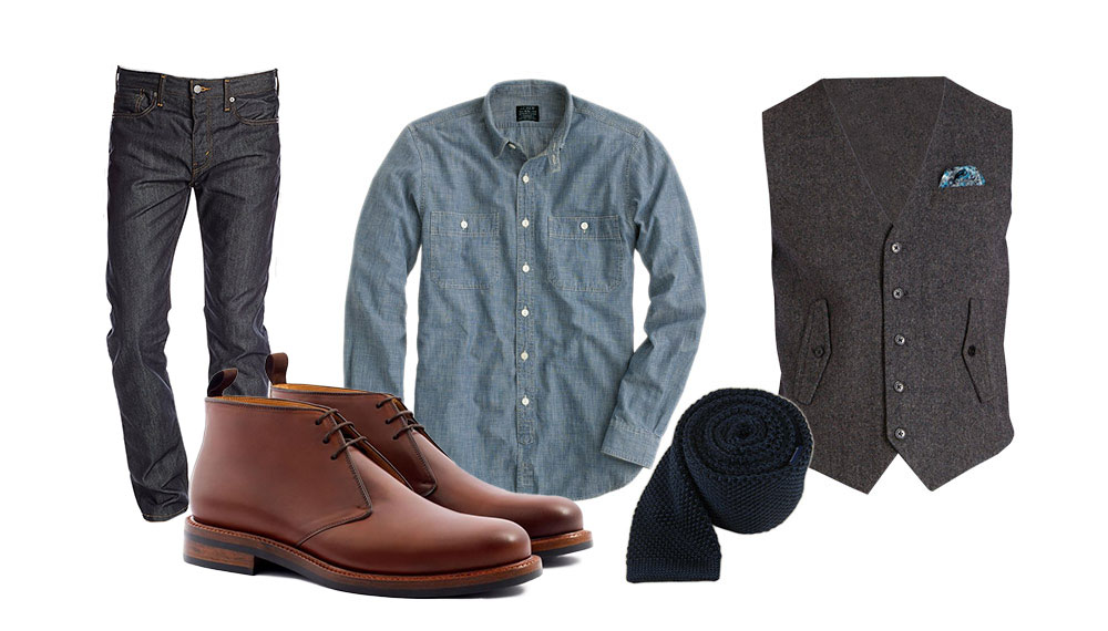how to wear chukka boots casually with denim and a chambray shirt