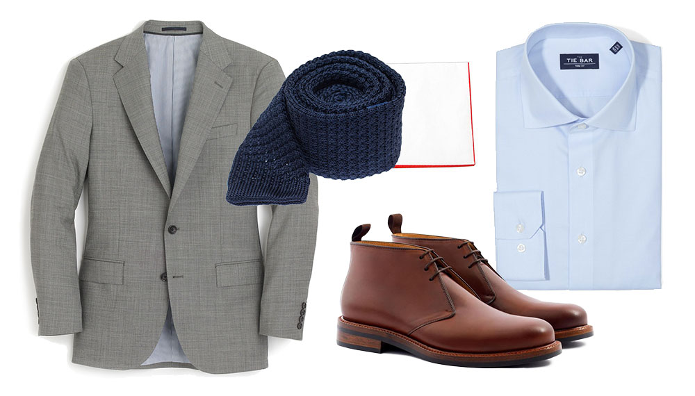 how to wear chukka boots formally with a grey suit and light blue dress shirt