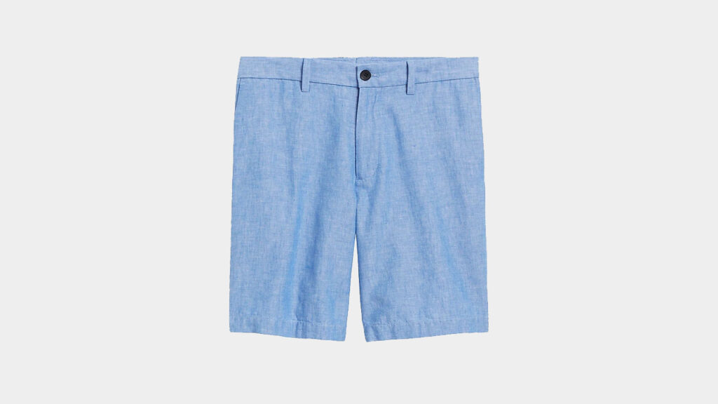 light blue cotton linen shorts