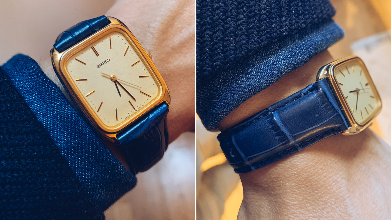 gold tone Seiko square wristwatch with blue alligator grain leather band from Barton