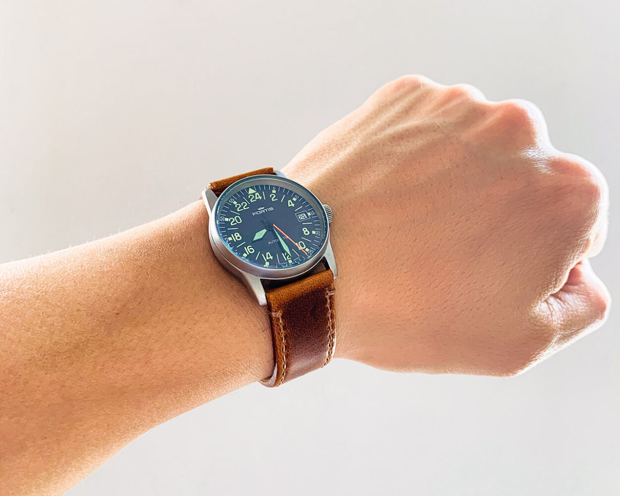brown leather watch band from Barton on Fortis Flieger 24h