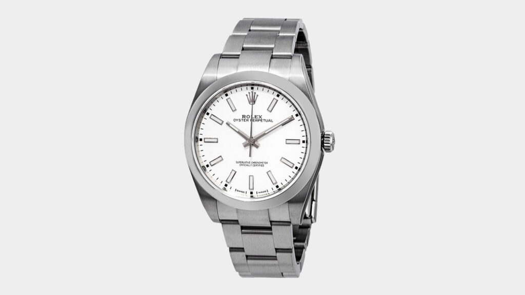 rolex oyster perpetual steel watch with white dial