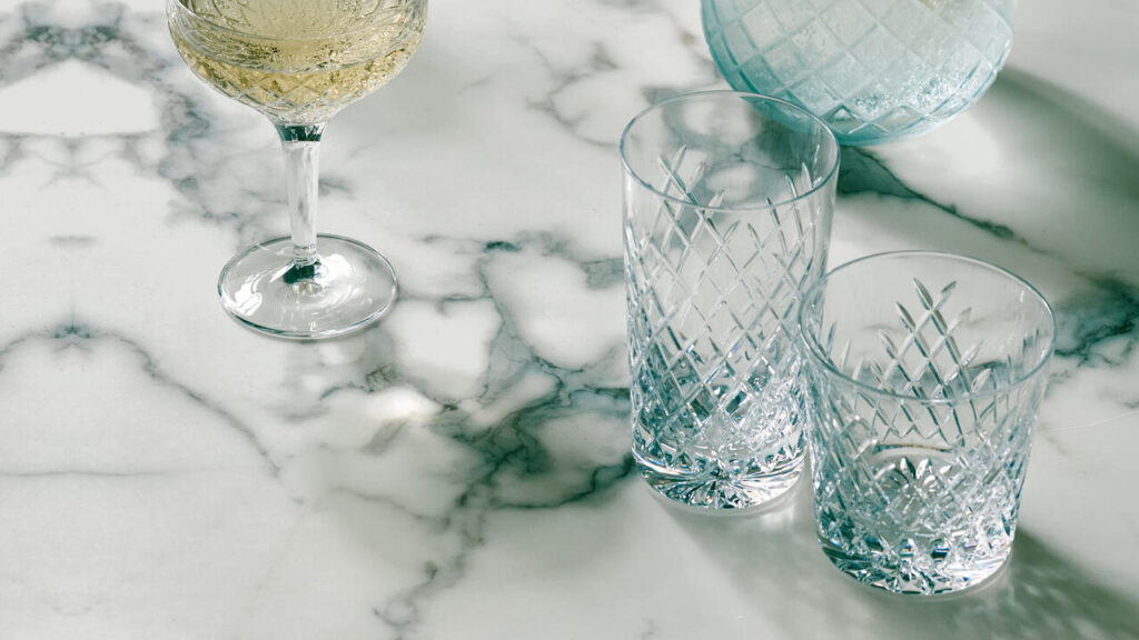 rocks glass on marble table