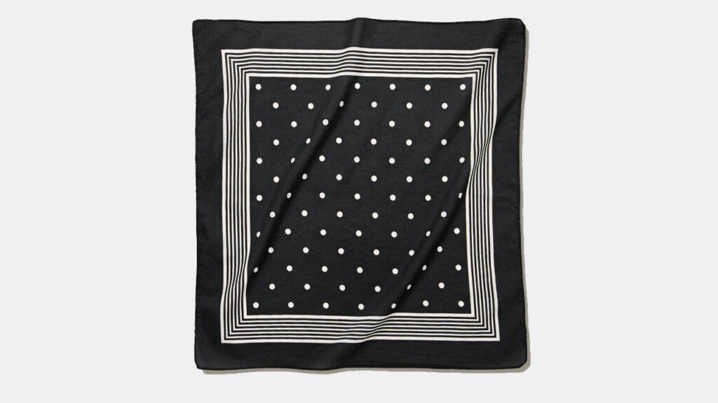 black square cotton bandana with a square printed border and dot motif in white