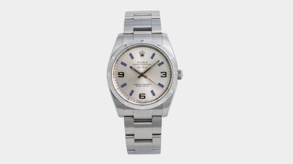 best entry level rolex air-king with steel case bracelet and champagne dial