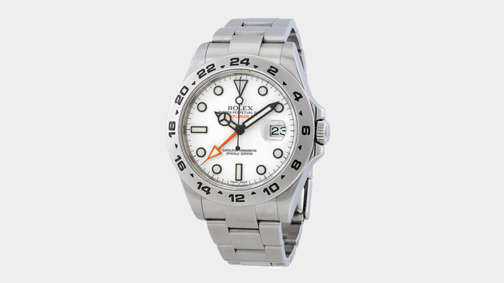 rolex explorer ii watch with white dial and steel case and bracelet