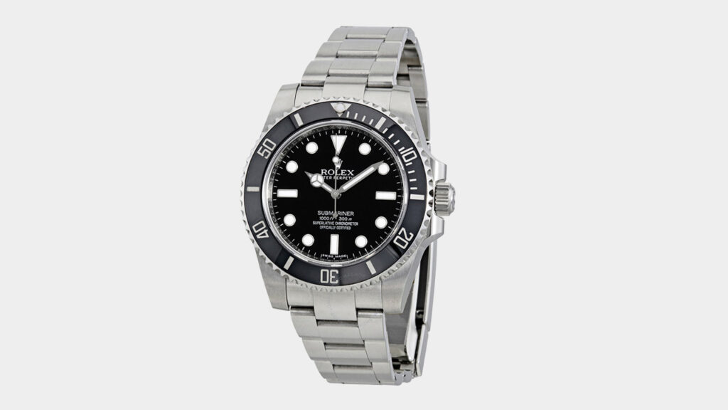 rolex submariner with black dial and steel case and bracelet