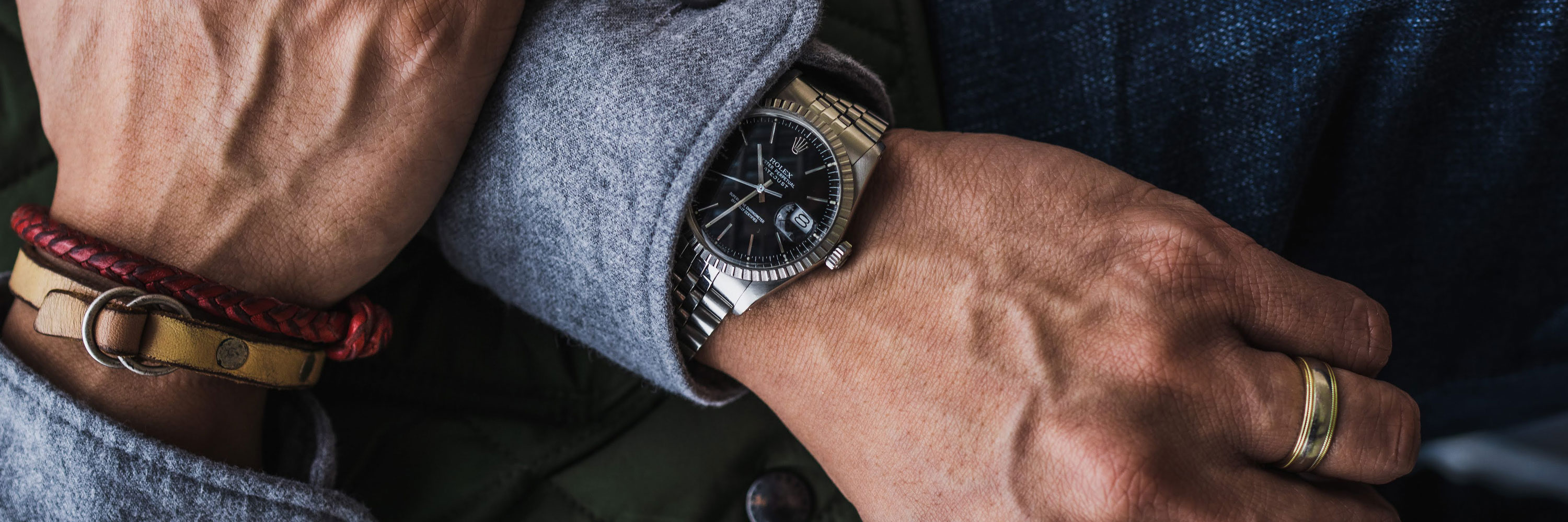 steel rolex datejust with black dial