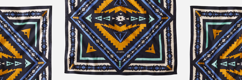 best edc handkerchief pendleton bandana with orange and blue accent colors