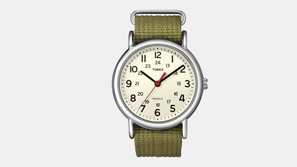timex weekender military watch with olive green fabric strap