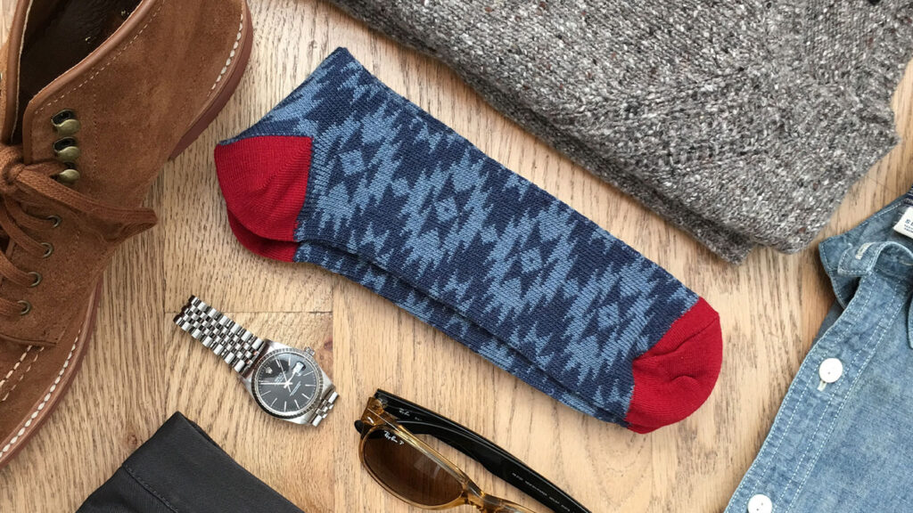 how to organize socks - native print blue and red wool socks