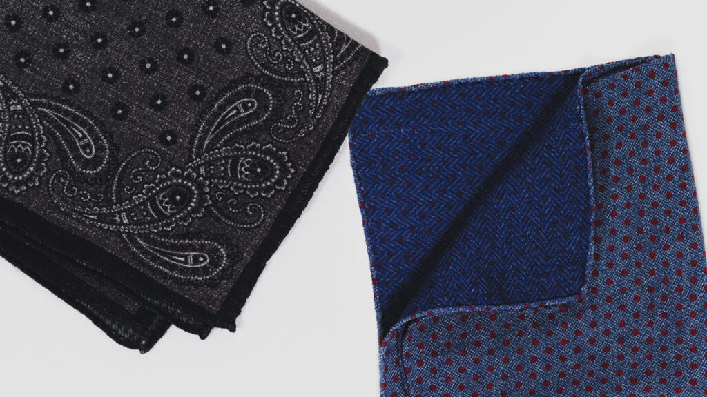 how to store pocket squares and organize handkerchiefs black and white paisley and blue and red dot handkerchiefs