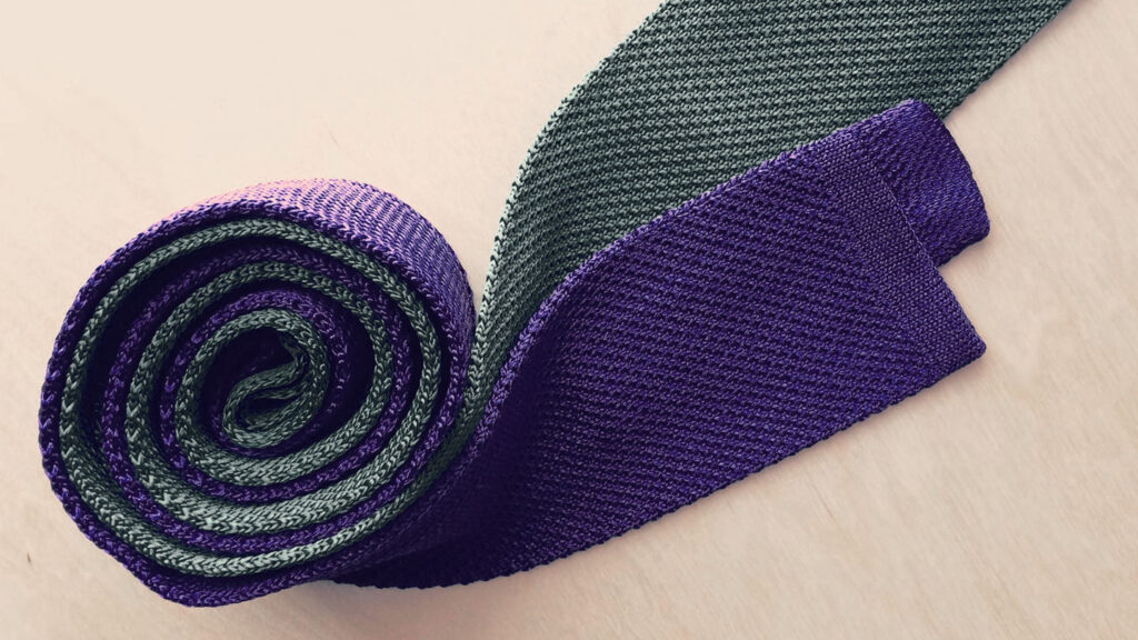 how to store ties - rolled up knit ties in grey and blue purple