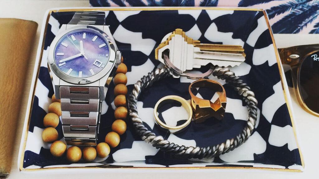 valet trey with men's accessories