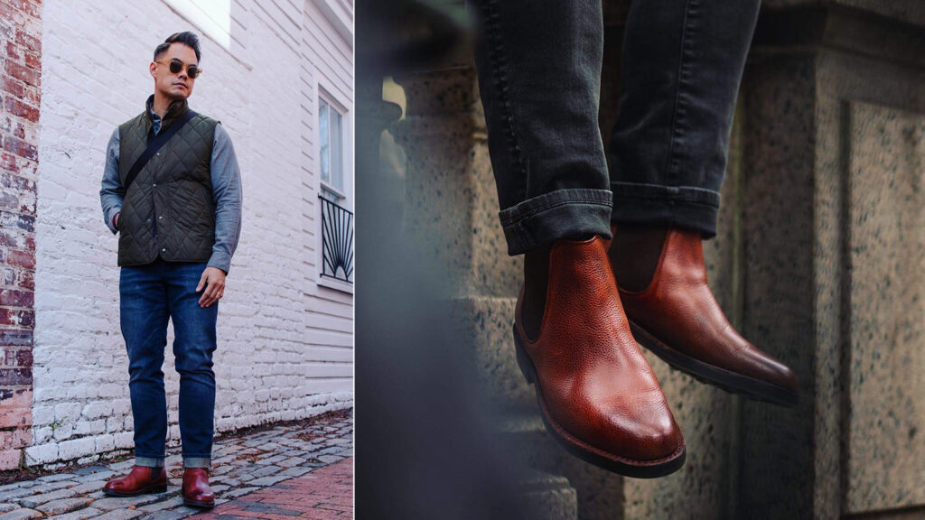 tan leather slip on boots with dark jeans