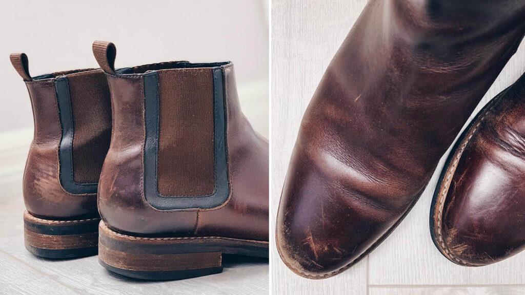 dark brown chelsea slip on boots