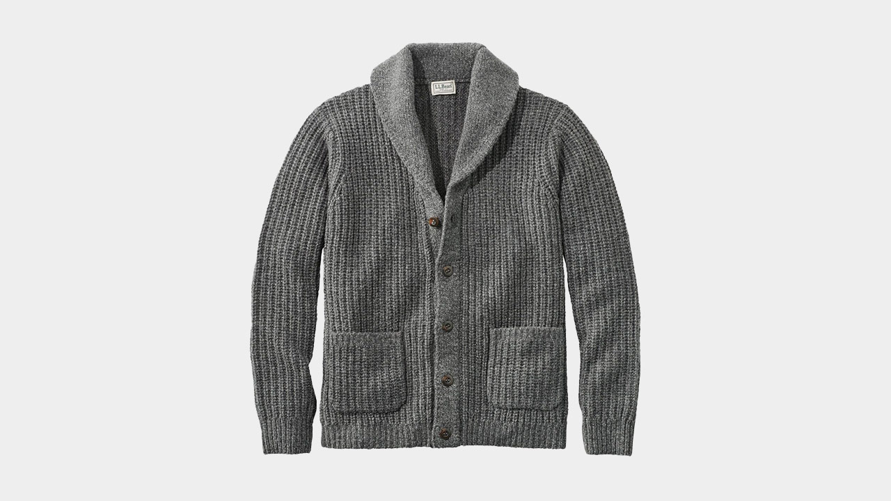 L.L.Bean Ragg Wool Shawl Cardigan