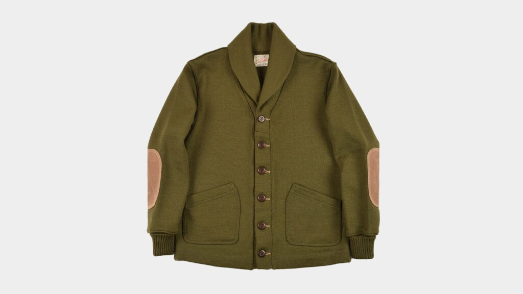 olive green cardigan sweater jacket dehen