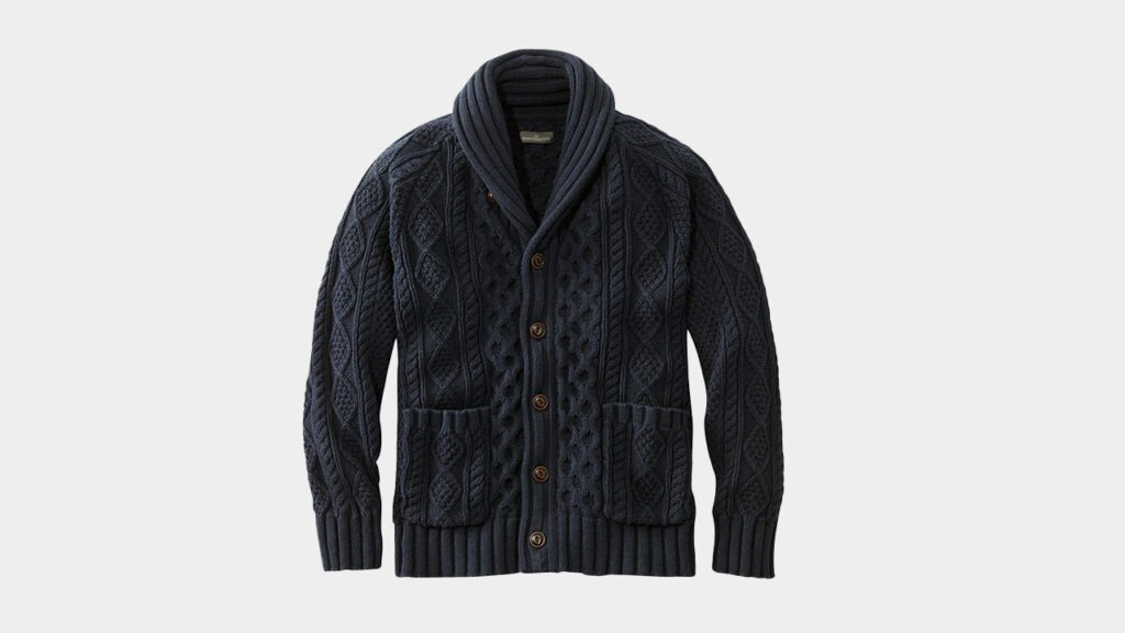 the ll bean navy fisherman sweater mens shawl cardigan