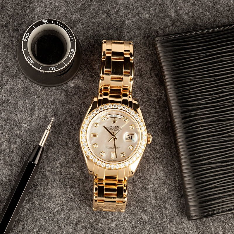 gold pearlmaster bracelet day date rolex watch from bob's watches